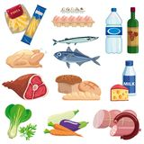 Foodstuffs. set of colored vector icons on a white Stock Images