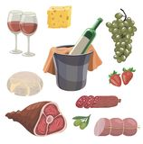 Foodstuffs. set of colored vector icons on a white Royalty Free Stock Image
