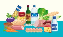 Foodstuffs. Set of food and drinks. Color illustration Stock Photo