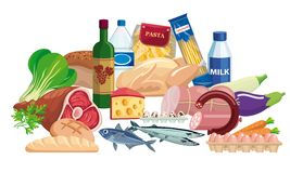 Foodstuffs. Set of food and drinks. Color illustration Royalty Free Stock Photography