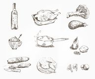 Foodstuffs. set of sketches Stock Photography