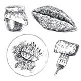 Foodstuffs. set of sketches Royalty Free Stock Photography