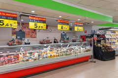 Foodstuffs at supermarket, sale deals. Discount offers and variety of foodstuffs for sale in a supermarket, Lanzarote, Spain, 2017 royalty free stock images