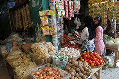 Foodstuffs. Various foodstuffs sold in a traditional market in Sragen, Central Java, Indonesia royalty free stock photo