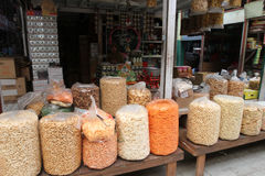 Foodstuffs. Various foodstuffs sold in a traditional market in Sragen, Central Java, Indonesia royalty free stock photos