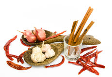 Foodstuffs. On white including peppers, chilli, garlic,chinamon  and onion Royalty Free Stock Photo