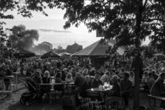 Foodtrack festival Wageningen September 2018-IV. Black and white shot of the Foodtrack festival Wageningen September 2018-II stock image