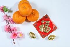 Fook, één van de gunstigste Chinese Nieuwjaargroeten verfraaide met van van de kersenbloesem, sinaasappel en Yuanbao baren stock foto
