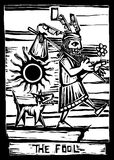 The Fool. Is the First image in a tarot card deck vector illustration