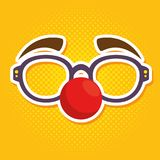 Fool clown glasses with red nose. Red nose day fool clown glasses with red nose vector illustration graphic design vector illustration