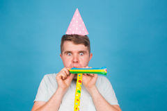 Fool crazy man. happy expression. April fools day concept Royalty Free Stock Images
