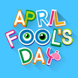 Fool Day April Holiday Greeting Card Banner Comic Crazy Eyes Stock Photos