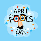 Fool Day April Holiday Greeting Card Banner Comic Fake Nose, Mustache, Glasses Royalty Free Stock Image