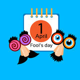 Fool Day Calendar Page April Holiday Greeting Card Banner Comic Crazy Fake Nose, Mustache, Glasses. Fool Day Calendar Page 1 April Holiday Greeting Card Banner Royalty Free Stock Images