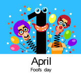 Fool Day Comic Crazy Clown Head In Surprise Box April Stock Photos