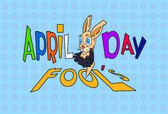 Fool Day Crazy Rabbit April Holiday Greeting Card Banner Stock Image