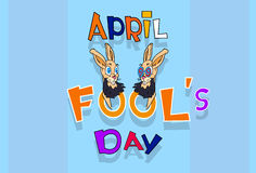 Fool Day Crazy Rabbit Couple April Holiday Greeting Card Banner Stock Photos