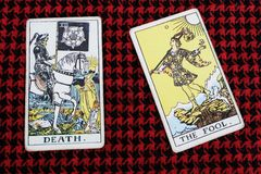 The FOOL & The DEAD. Tarot cards. Gypsy tarot horoscope predict aprill fool day royalty free stock photos