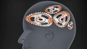 Rust and broken cogwheels in the mind. A fool - human head with twisted and misaligned wooden cogwheels inside, symbolizes stupidity, idiocy, being a dumb person Royalty Free Stock Photo