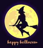 Fool moon and flying witch Halloween background. Royalty Free Stock Images