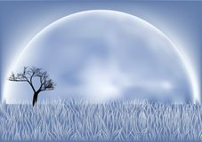 Fool moon. Tree in the night field and royalty free illustration