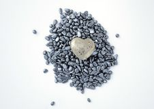 Fool's gold heart on hematite beads Stock Photos
