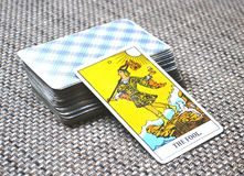 The Fool Tarot Card Begginins Rebirth. This cards is about Beginnings, Void, Rebirth, Renewal, New Phase, Fresh,  Open to Change, Leap of Faith, Blind Faith Royalty Free Stock Photo