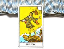 The Fool Tarot Card Begginins Rebirth Faith. This cards is about Beginnings, Void, Rebirth, Renewal, New Phase, Fresh,  Open to Change, Leap of Faith, Blind Stock Images