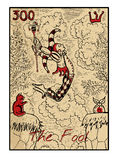 The Fool. The tarot card. The fool. The major arcana tarot card in color, vintage hand drawn engraved illustration with mystic symbols. Man in costume of royalty free illustration