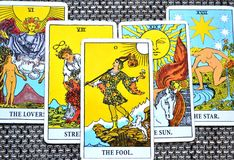 The Fool Tarot Card Strength Lovers Sun Star Background. This cards is about Beginnings, Void, Rebirth, Renewal, New Phase, Fresh,  Open to Change, Leap of Faith Royalty Free Stock Photo