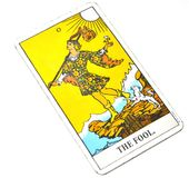 The Fool Tarot Card White Background. This cards is about Beginnings, Void, Rebirth, Renewal, New Phase, Fresh, Open to Change, Leap of Faith, Blind Faith stock photos