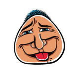 Foolish cartoon face, vector illustration. Royalty Free Stock Photo