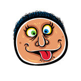 Foolish cartoon face, vector illustration. Stock Images