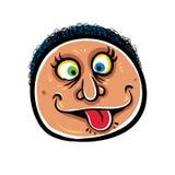 Foolish cartoon face, vector illustration. People expressions vector illustration