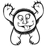 Foolish cartoon monster, black and white vector Royalty Free Stock Images