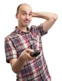 Foolish man looks TV. Isolated on white Stock Photo