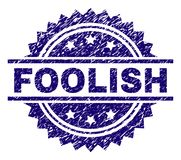 Scratched Textured FOOLISH Stamp Seal. FOOLISH stamp seal watermark with distress style. Blue vector rubber print of FOOLISH label with retro texture royalty free illustration