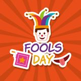 Fools day greeting card. Fools day face clown mask jack box and mouth vector illustration stock illustration