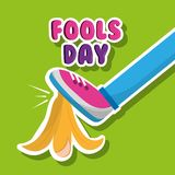 Fools day funny prank leg and banana peel. Vector illustration Stock Photography