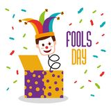 Fools day greeting card. Fools day jack in the box clown mask jester hat confetti vector illustration stock illustration