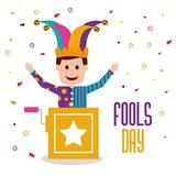 Fools day greeting card. Fools day man joker in the box prank vector illustration Royalty Free Stock Photos