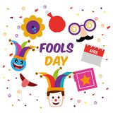 Fools day greeting card. Fools day mask box flower cushion clown face vector illustration Royalty Free Stock Photography