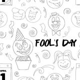 Fools day pattern- 1 April. Vector illustration, EPS 10 Royalty Free Stock Photo
