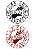 Fools day rubber stamp. Are you prepared? April fools day. A set of two rubber stamp on a white background Royalty Free Stock Images