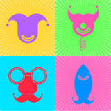 Fools Day Symbols. Vector flat icon set of april fools day symbols Royalty Free Stock Images