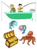 Fools Gold. Cartoonish icons related to sea activities; fishermen, boat, treasure, octopus, and funny colorful fish Royalty Free Illustration