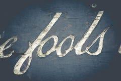 Fools Typography Stock Photography