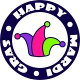 Foolscap στο σύμβολο κύκλων της Mardi Gras καρναβάλι διανυσματική απεικόνιση