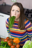 Fooman tred from diet. And vegetables Stock Photos