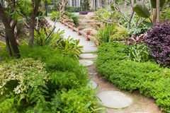 Foootbridge in garden Royalty Free Stock Image